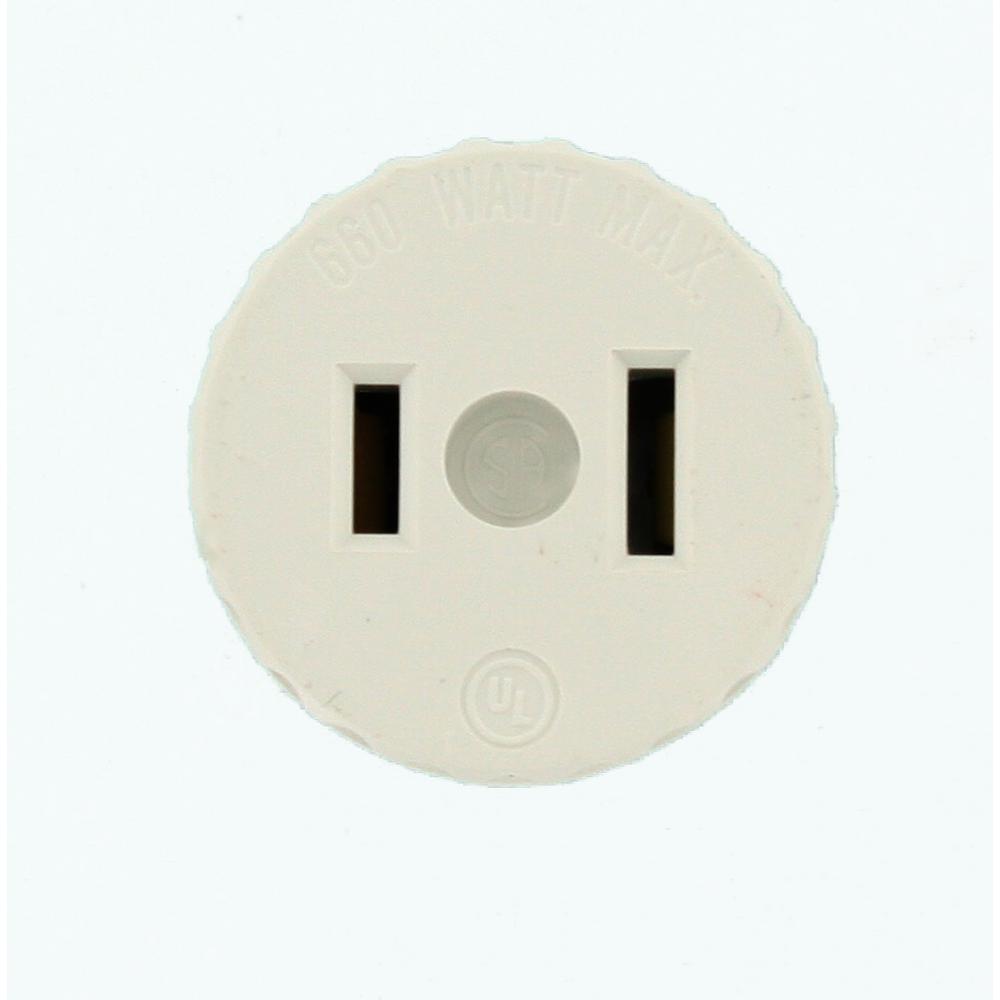 660-Watt Lamp Holder to Outlet Adapter, White