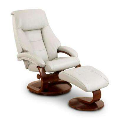 Oslo Collection Putty Top Grain Leather Swivel Recliner With Ottoman