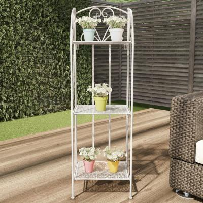 3-Tier Antique White Metal Decorative Folding Vertical Plant Stand Display