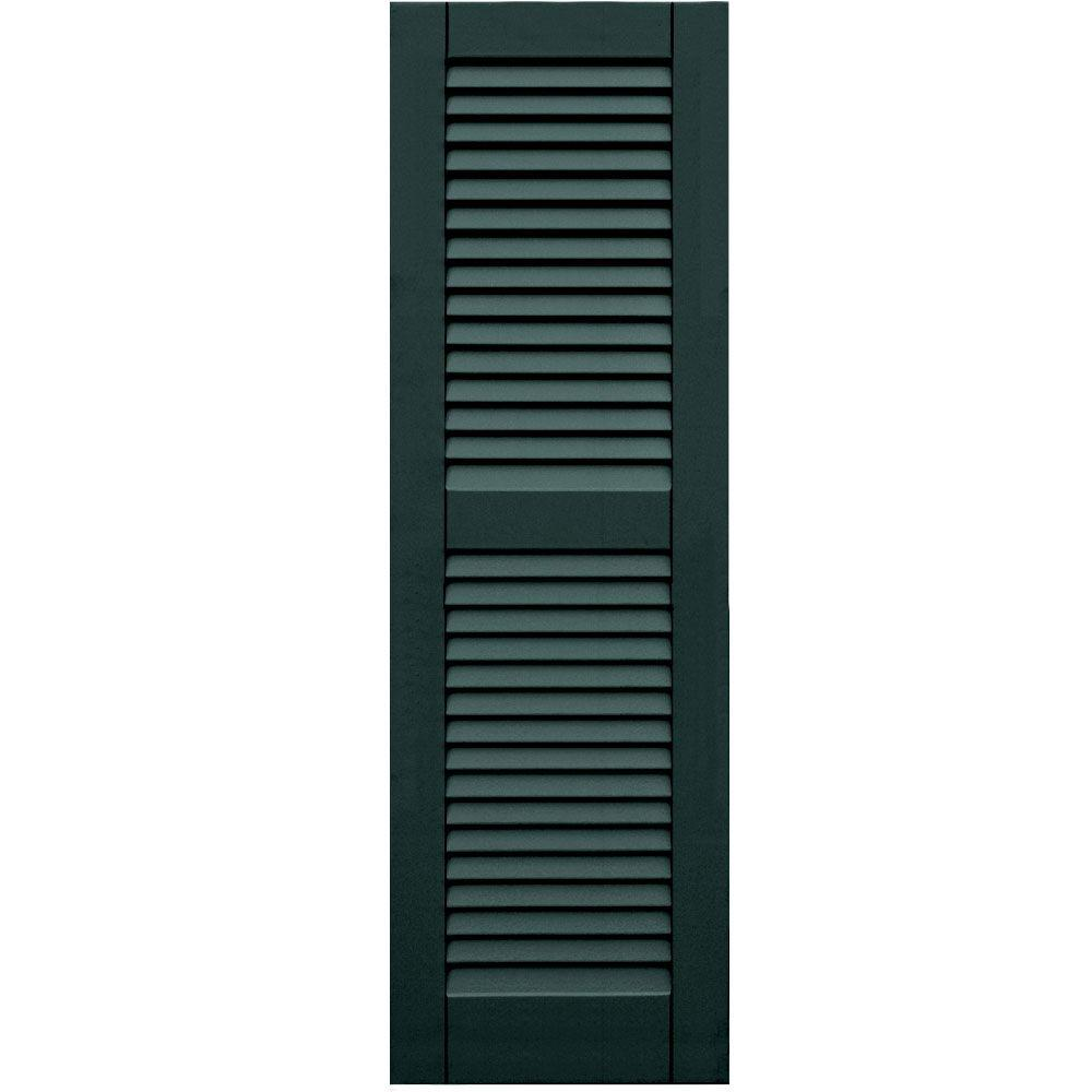 Winworks Wood Composite 15 in. x 48 in. Louvered Shutters Pair #638 Evergreen