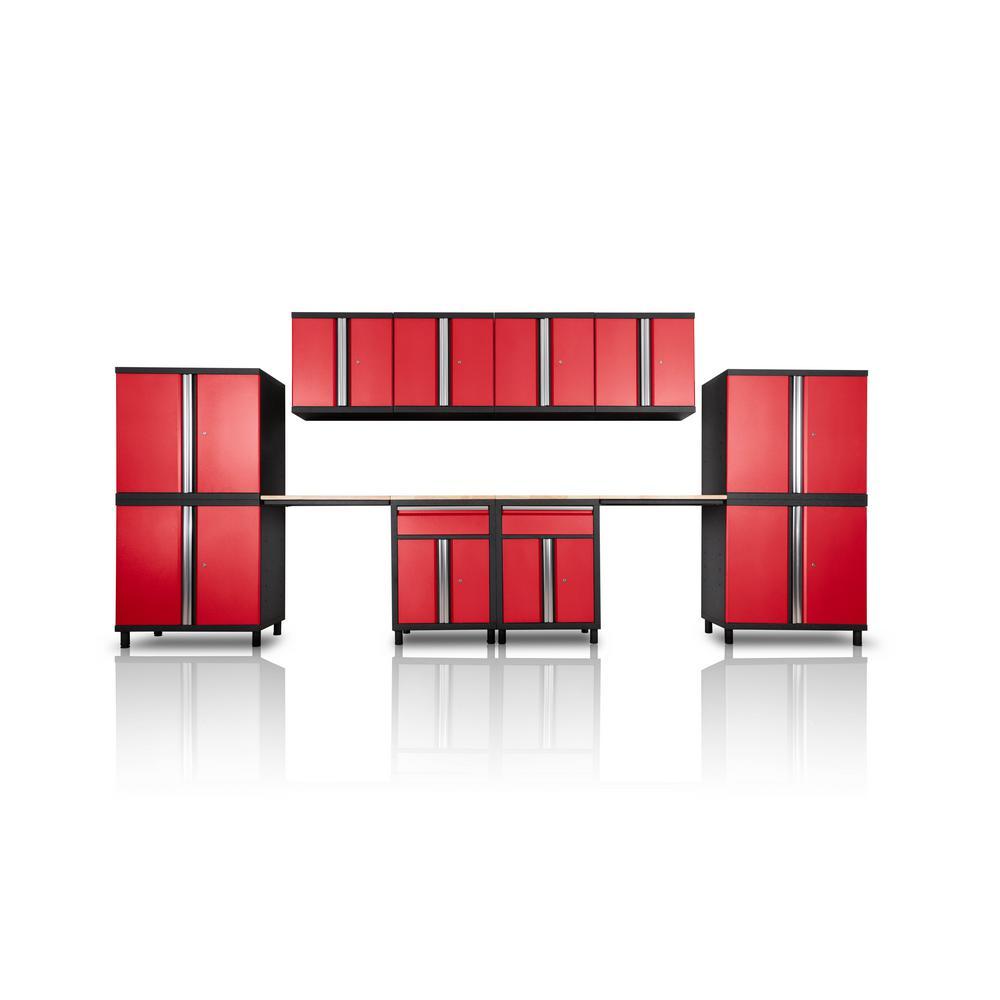 Pro Series III 81.1 in. H x 191 in. W x 18 in. D 23/24-Gauge Steel Wood Worktop Cabinet Set in Red (12-Piece)