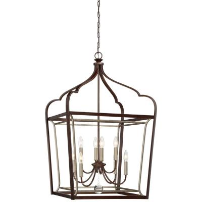 Astrapia 8-Light Dark Rubbed Sienna with Aged Silver Pendant