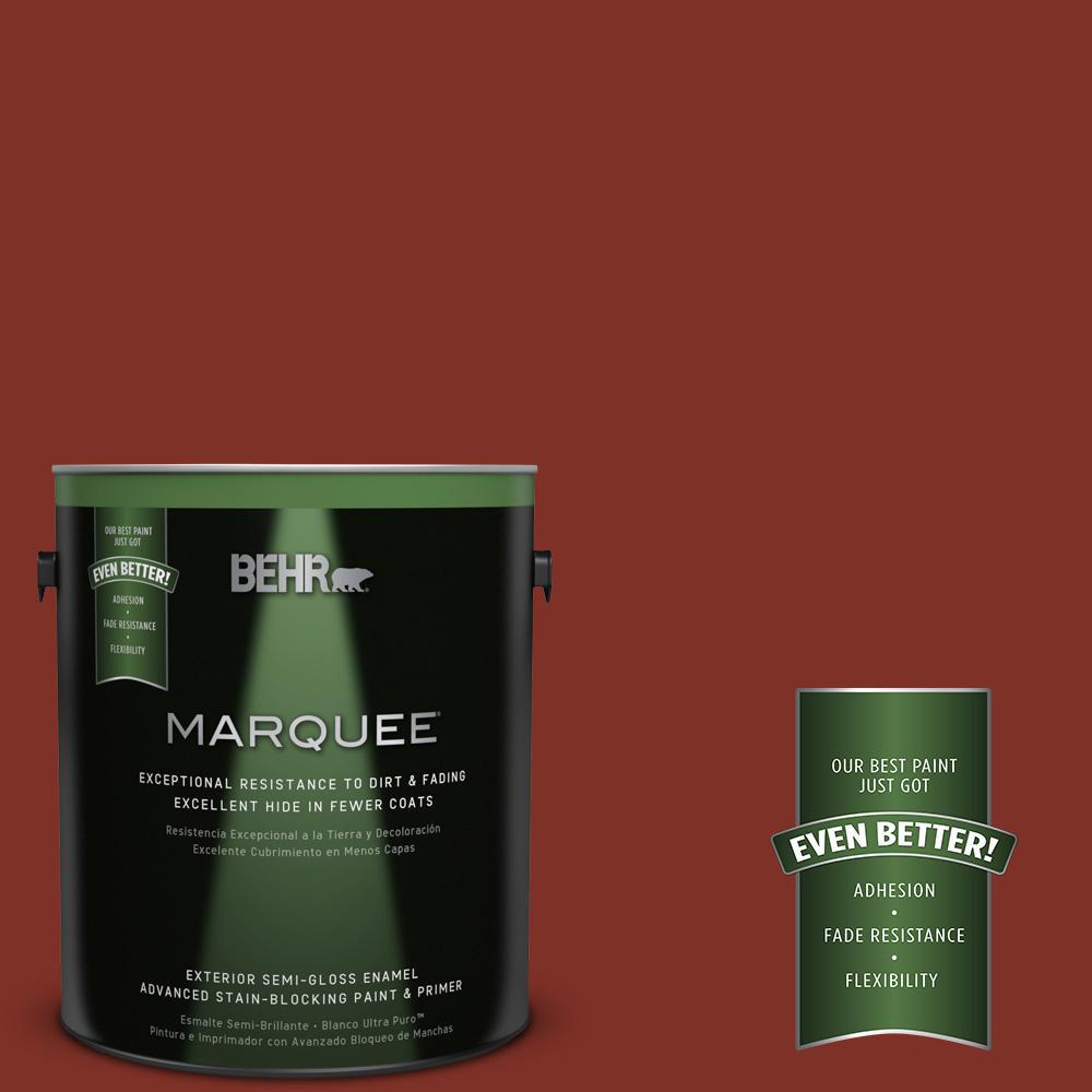 BEHR MARQUEE 1-gal. #ECC-46-3 Red Hawk Semi-Gloss Enamel Exterior Paint