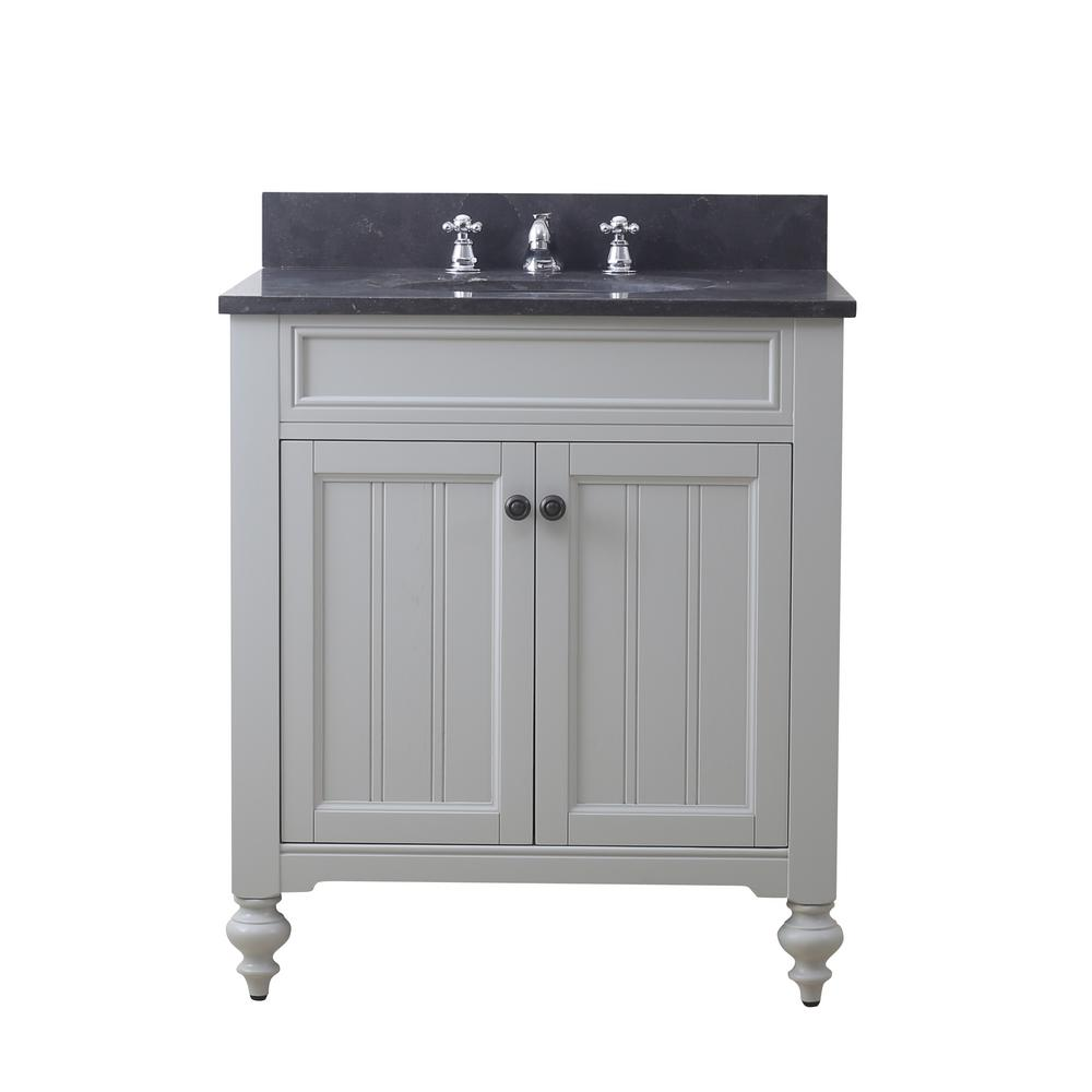 Water Creation Potenza 30 in. W x 33 in. H Vanity in Earl Grey with Granite Vanity Top in Blue Limestone with White Basin and Faucet