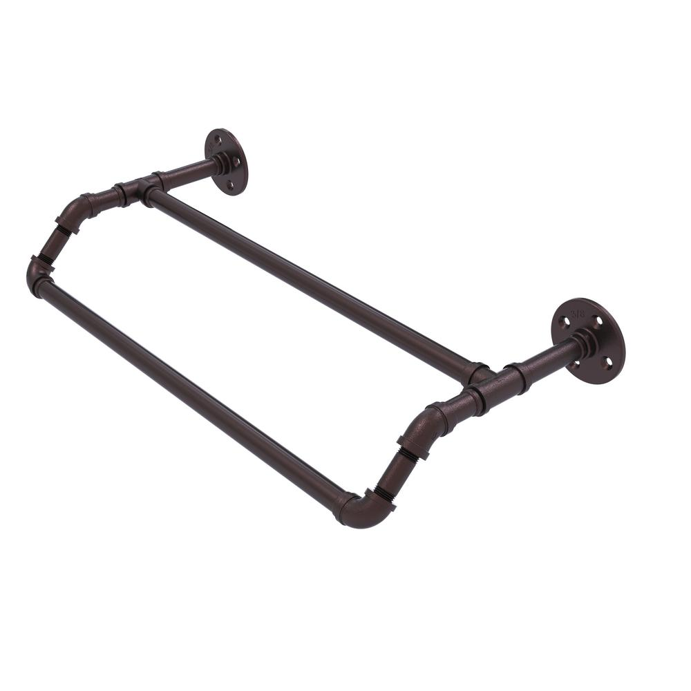 Pipeline Collection 36 in. Double Towel Bar in Antique Bronze