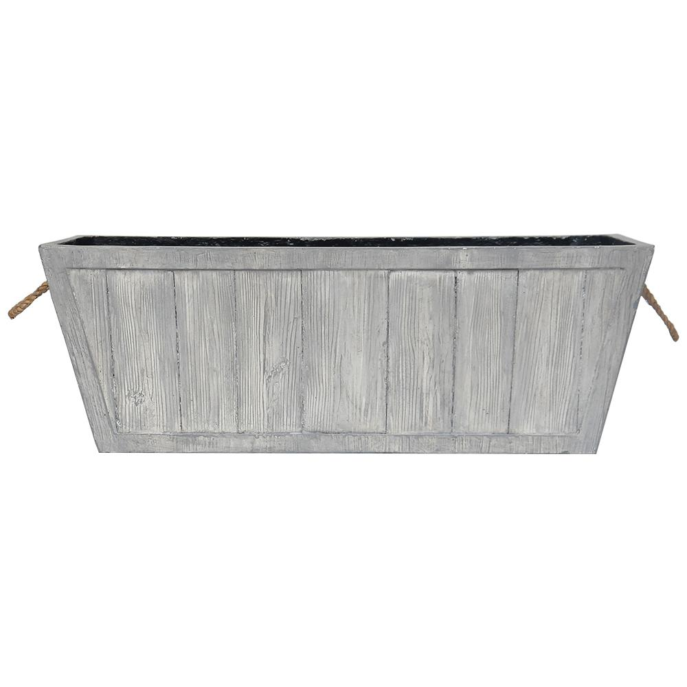 28 In L X 10 In W Weathered Gray Composite Rectangular Faux Wood Planter With Rope Handles Pc7791wg The Home Depot