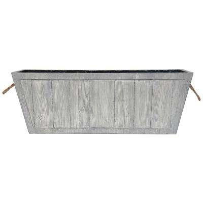 28 in. L x 10 in. W Weathered Gray Composite Rectangular Faux Wood Planter with Rope Handles