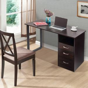 merax simple design espresso computer desk with cabinet and drawers