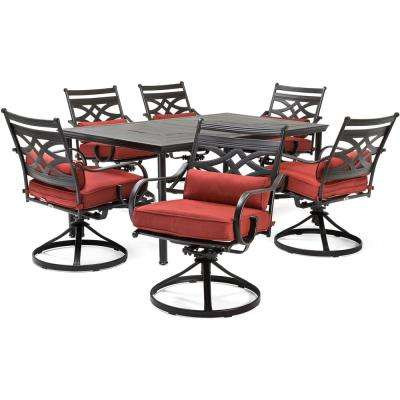Montclair 7-Piece Steel Outdoor Dining Set with Chili Red Cushions Swivel Rockers and Dining Table