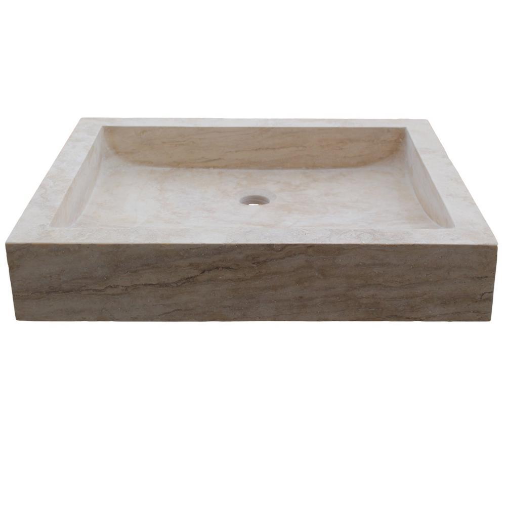 Tashmart Angled Flow Rectangular Natural Stone Vessel Sink In Beige Tm102 Lt The Home Depot