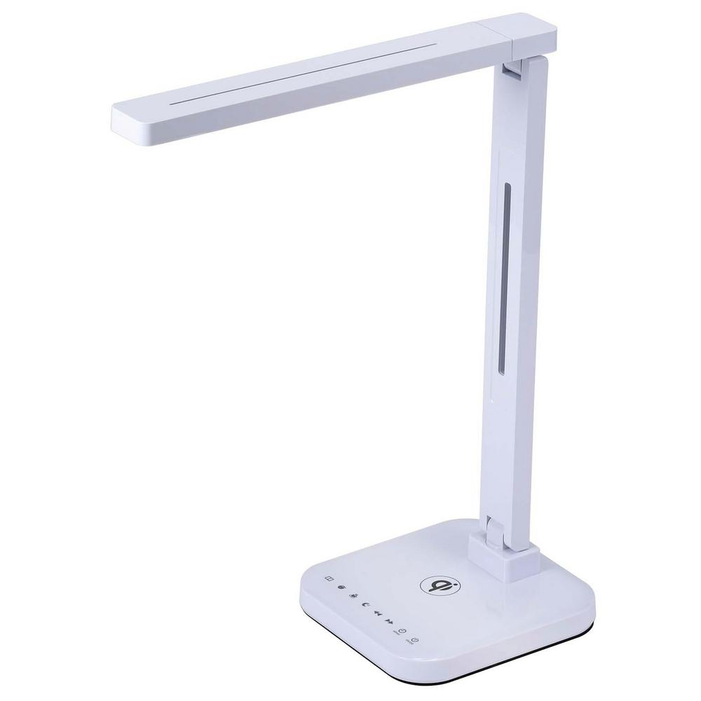 25-3/4 in. White LED Desk Lamp with Qi Wireless Charger, USB Charger, Dimmer and Touch Activation