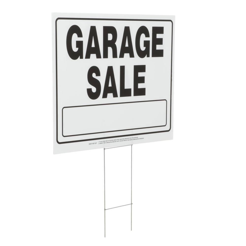 Everbilt 20 In X 24 In Corrugated Plastic Garage Sale Sign 31374