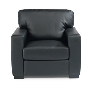 Alex Black Faux Leather Club Chair and Ottoman