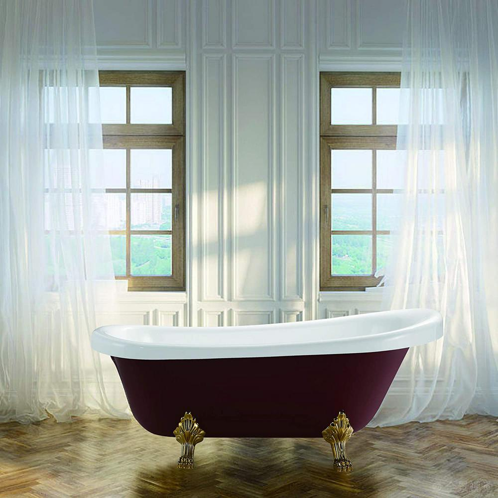 Vanity Art Laval 67 In Acrylic Claw Foot Freestanding Bathtub In Red And White Va6311 Rl The Home Depot