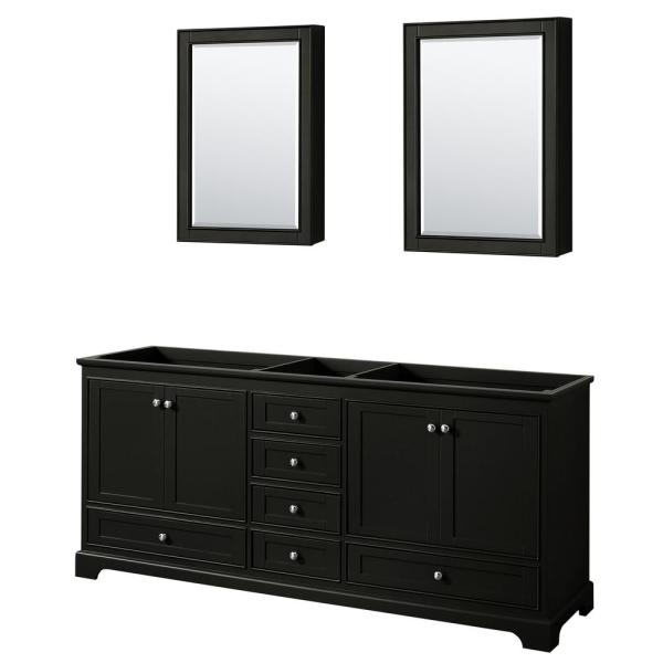 Deborah 79 in. Double Bathroom Vanity Cabinet Only with Medicine Cabinets in Dark Espresso