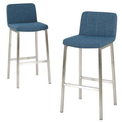 Sabiniano 30 in. Blue Fabric Barstool (Set of 2)