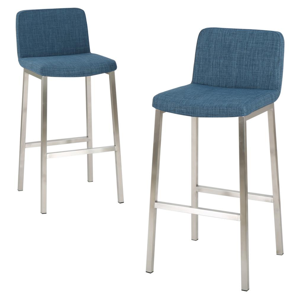 Pleasant Noble House Sabiniano 30 In Blue Fabric Barstool Set Of 2 Machost Co Dining Chair Design Ideas Machostcouk