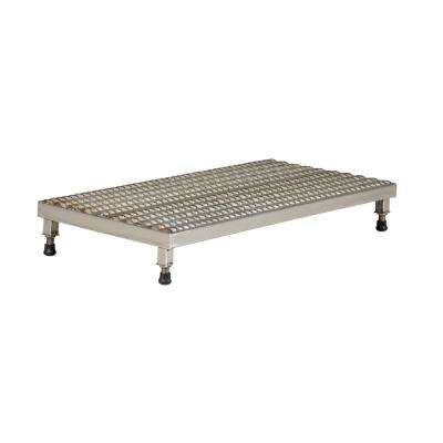 24 in. x 48 in. Stainless Steel Adjust Step-Mate Stand - Adjustable Height Range 5.75 in. x 7.75 in. (Serrated Deck)