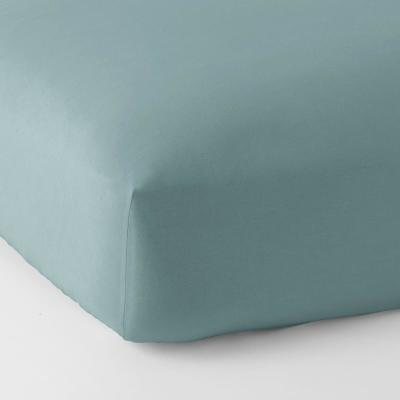 The Company Store Velvet Flannel Stone Blue Solid Twin Xl Fitted Sheet Eu29 Txl Stn Blue The Home Depot