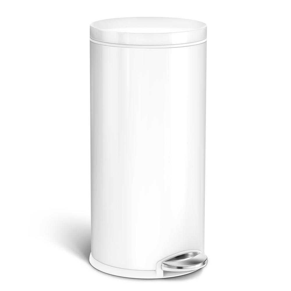 Simplehuman 35 L 9 2 Gal White Stainless Steel Round Step