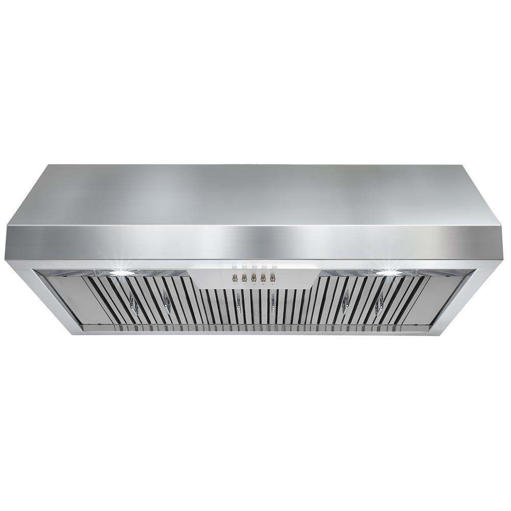 Kitchen Hood Lighting: 36 In. Range Hood Under Cabinet Stainless Steel Vent