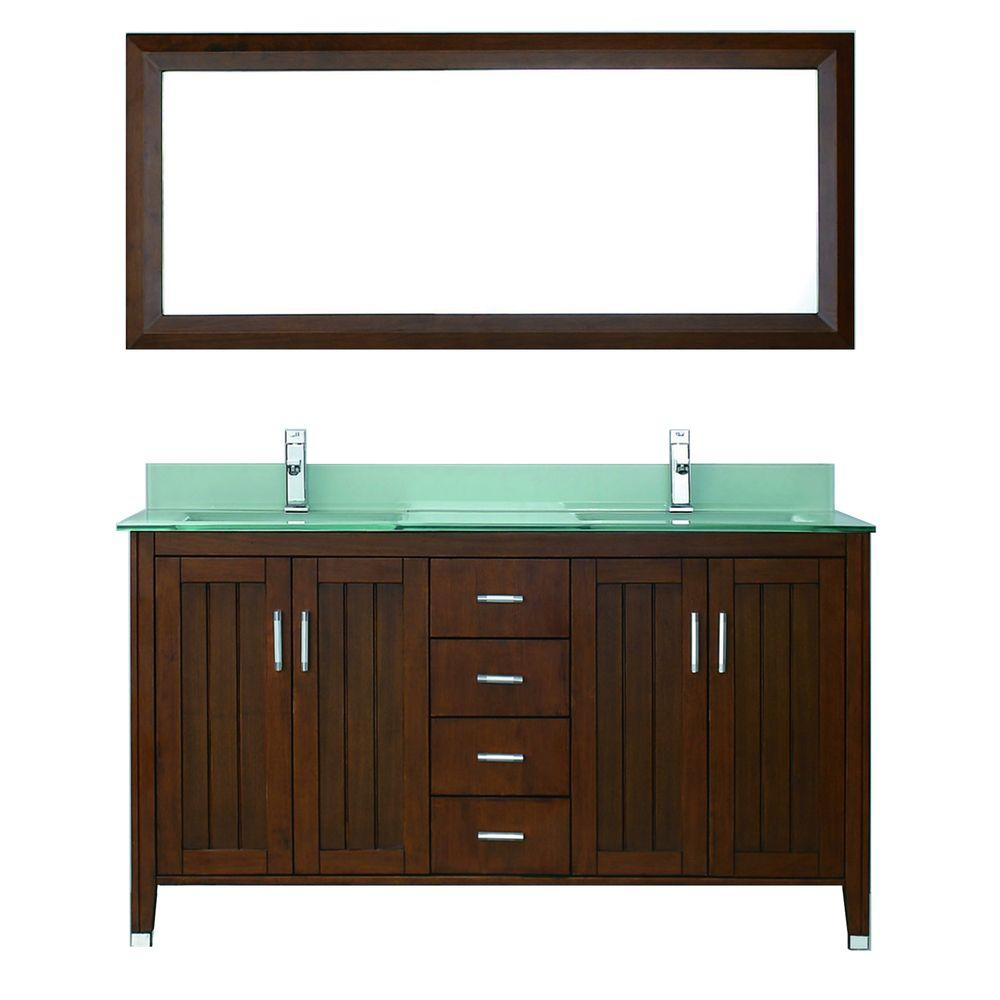 Studio Bathe Jackie 60 in. Vanity in Classic Cherry with Glass Vanity Top in Mint and Mirror