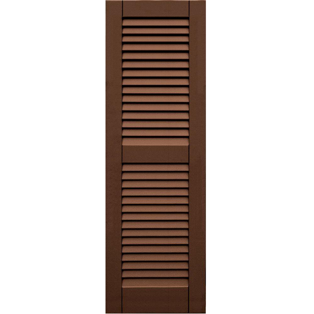 Winworks Wood Composite 15 in. x 47 in. Louvered Shutters Pair #635 Federal Brown