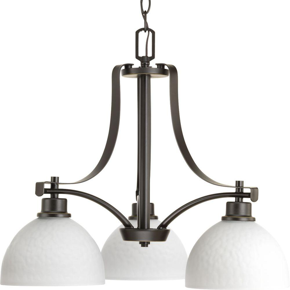 Legend Collection 3-Light Antique Bronze Chandelier with Shade with Sculpted