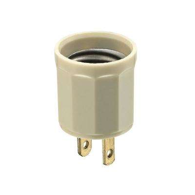 600 Watt Medium Base Outlet To Socket Lamp Holder Ivory