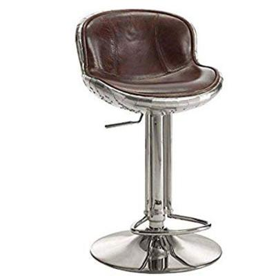 Vintage Brown and Silver Astonishing Adjustable Stool with Swivel