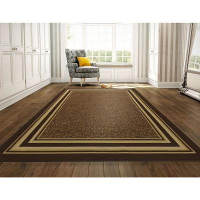 Ottohome Collection Contemporary Bordered Design Brown 8 ft. x 10 ft. Area Rug