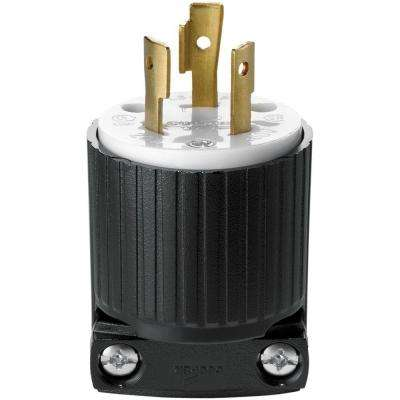 Hart-Lock Industrial Grade 20 Amp 250-Volt Plug with Safety Grip, Black and White