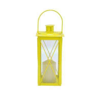12 in. Metal Lantern with Led Candle in Yellow