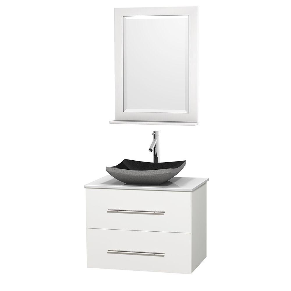 Wyndham Collection Centra 30 in. Vanity in White with Solid-Surface Vanity Top in White, Black Granite Sink and 24 in. Mirror
