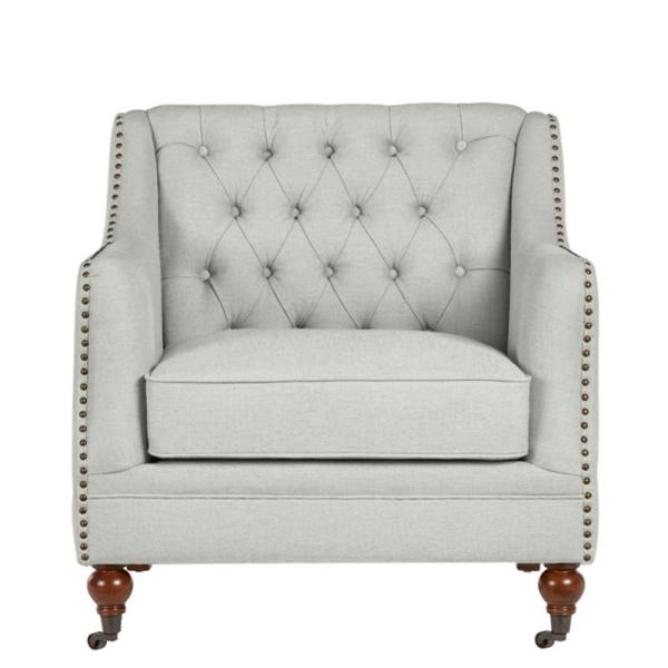 Kennison Evere Willow Green Wood Accent Chair with  Tufting and Nailhead Trim (32.68 in. W x 32.28 in. H)
