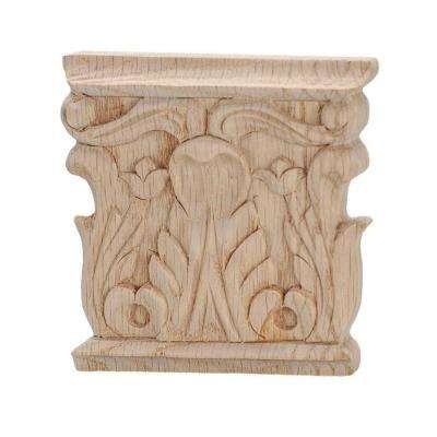 3-1/8 in. x 3 in. x 1/2 in. Unfinished Hand Carved Solid American Red Oak Acanthus Wood Onlay Capital Wood Applique