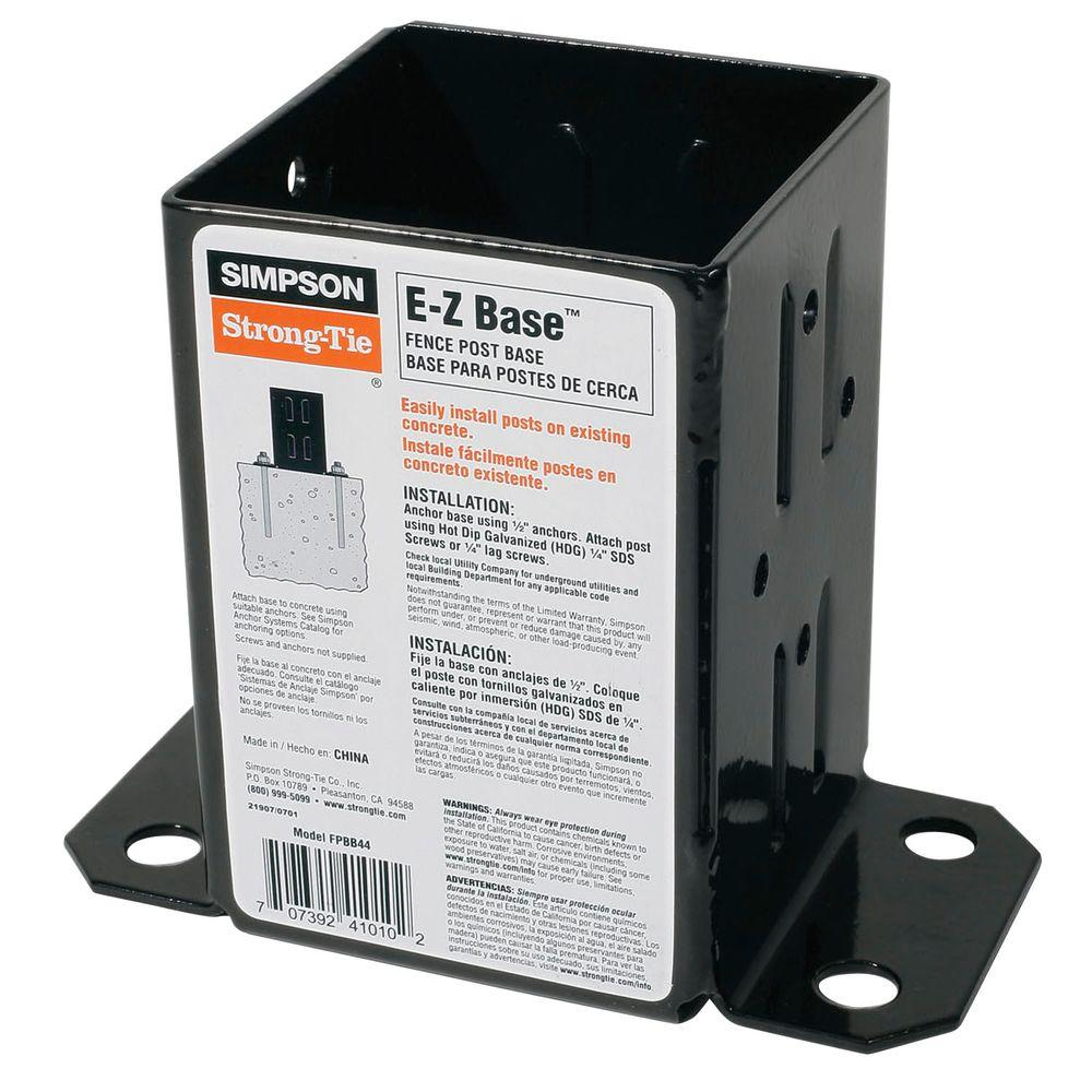Simpson Strong-Tie E-Z Base Black Powder-Coated Post Base for 4x4 Nominal Lumber