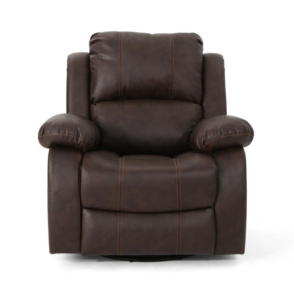 Noble House Alianna Classic Dark Brown Leather Gliding Swivel Recliner 304389