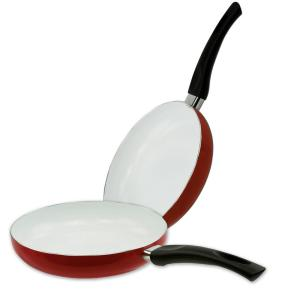 Imperial Home 2-Piece Red Ceramic Frying Pan Set by Imperial Home