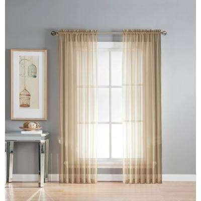 Sheer Diamond Sheer Voile Extra Wide 84 in. L Rod Pocket Curtain Panel Pair, Taupe (Set of 2)