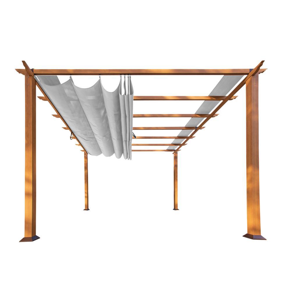 Florence 11 ft. x 11 ft. Canadian Cedar Aluminum Pergola with Gray Canopy