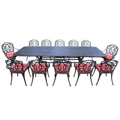 13 Piece Aluminum Outdoor Dining Set With Red Cushions