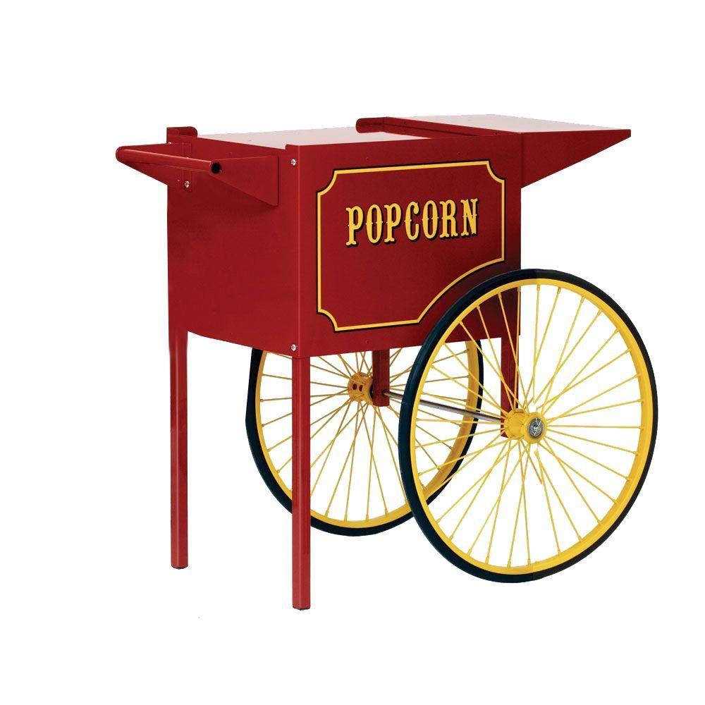 Paragon Popcorn Cart, Red/Gloss Carts provide easier access, better merchandising and great mobility. The sturdy all steel construction has a chip resistant coating. Also features convenient built-in storage space and breaks down easily for storage and transportation. Color: Red/Gloss.