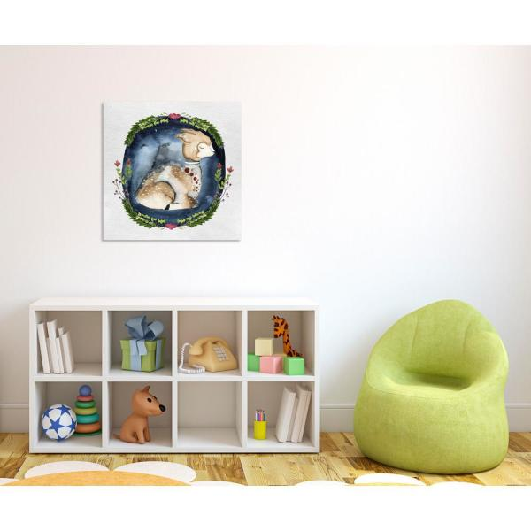 The Oliver Gal Artist Co. 24 in. x 24 in. 'Sleepy Alpaca Square' by Oliver Gal Printed Framed Canvas Wall Art