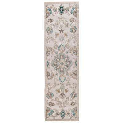 Tranquility Fungi / Light Blue 2 ft. x 7 ft. Indoor Runner Rug