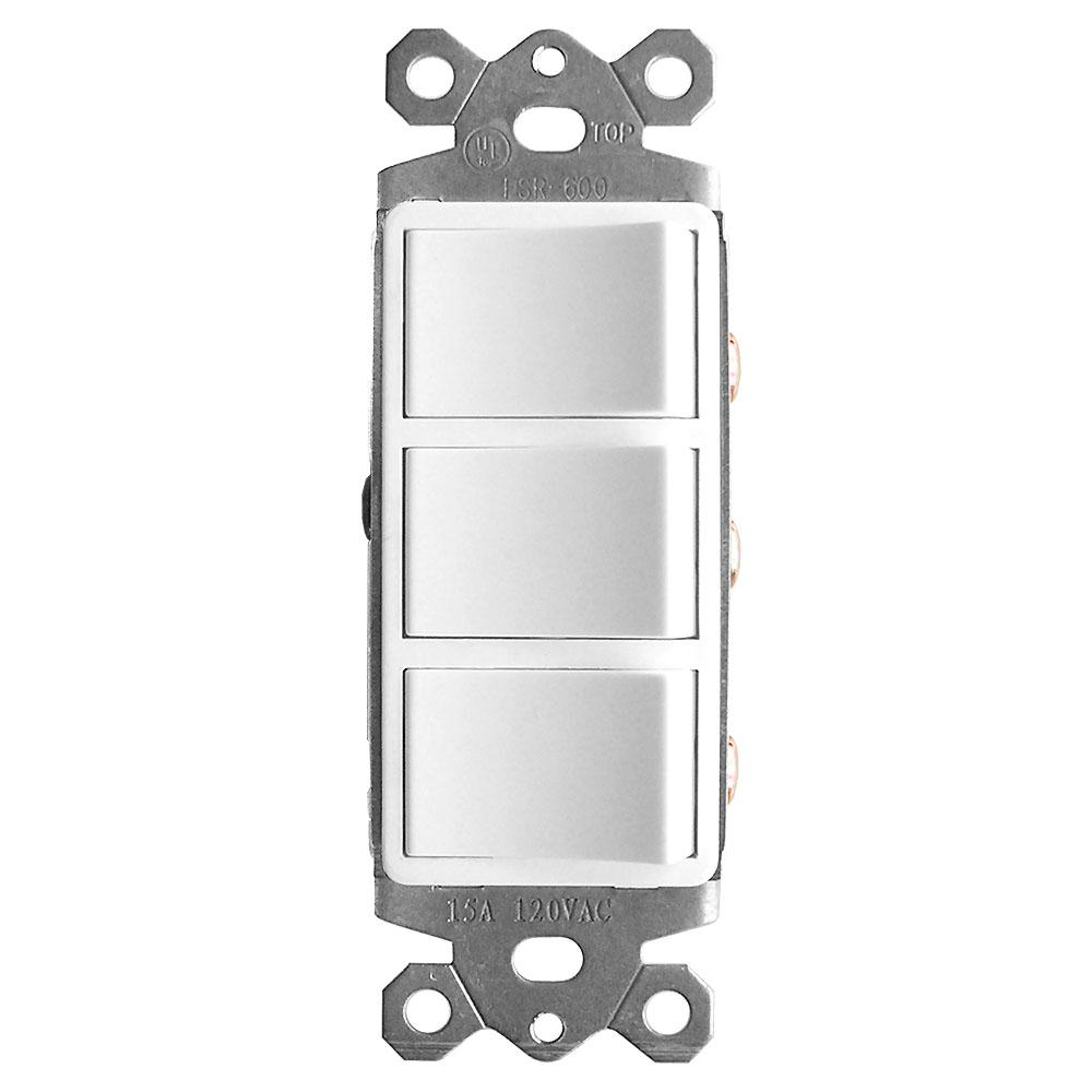 GTRTECHNOLOGIES GTR TECHNOLOGIES 3-Function Rocker Combination Switch in White (120-Volt, 15 AMP)