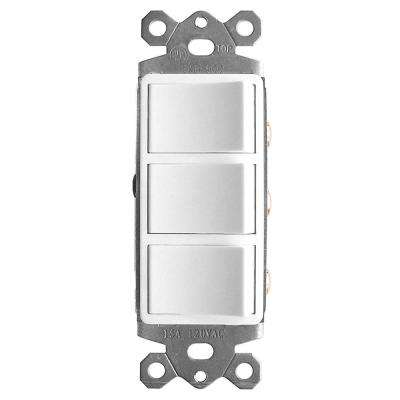 3-Function Rocker Combination Switch in White (120-Volt, 15 AMP)