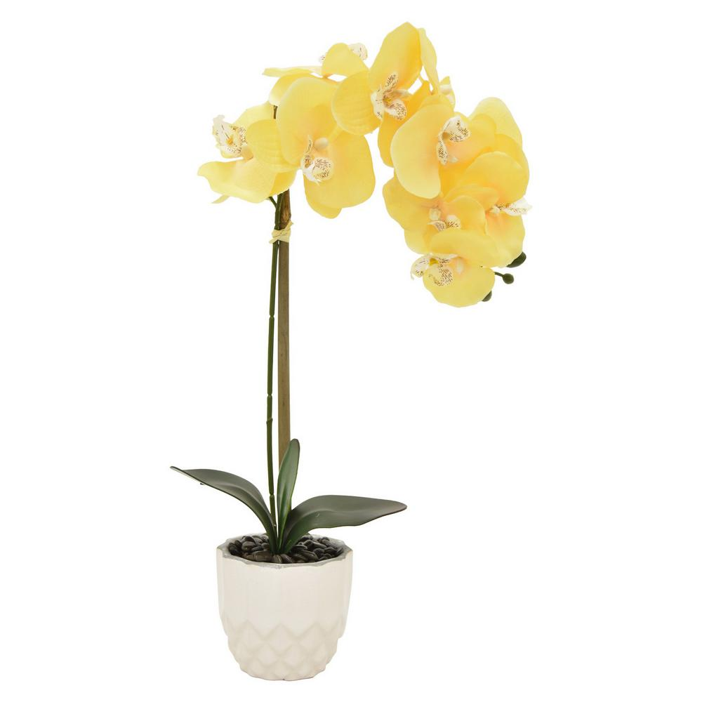 Faux Orchid Flower Pot In Yellow