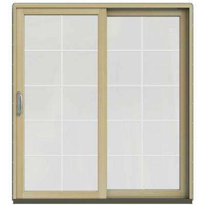 72 in. x 80 in. W-2500 Contemporary Silver Clad Wood Right-Hand 10 Lite Sliding Patio Door w/Unfinished Interior