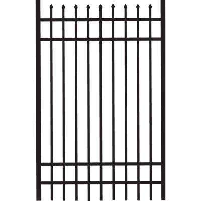 Cascade 4 ft. W x 6 ft. H Black Standard-Duty Aluminum Straight Pre-Assembled Fence Gate